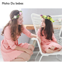 Mother Daughter Matching Dress Sets O Neck Long Sleeve Dresses Chiristmas Family Matching Clothes Mom Daughter