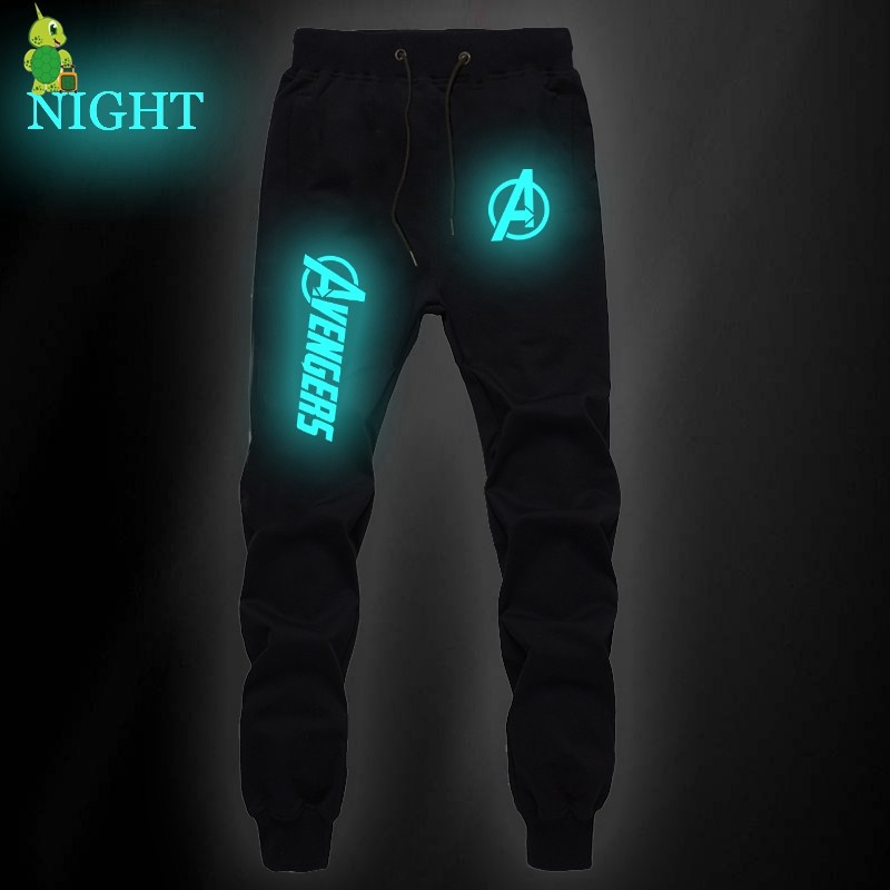 The Avengers Printed Pants Luminous Sweatpants Men Joggers Sportswear Pants Streetwear Casual Pants Fitness Pants Long Trousers