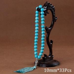 Image 5 - 10ミリメートル天然石黒トルコ石タッセルペンダント33数珠イスラム教徒のtasbihアッラーモハメッドロザリオ女性男性