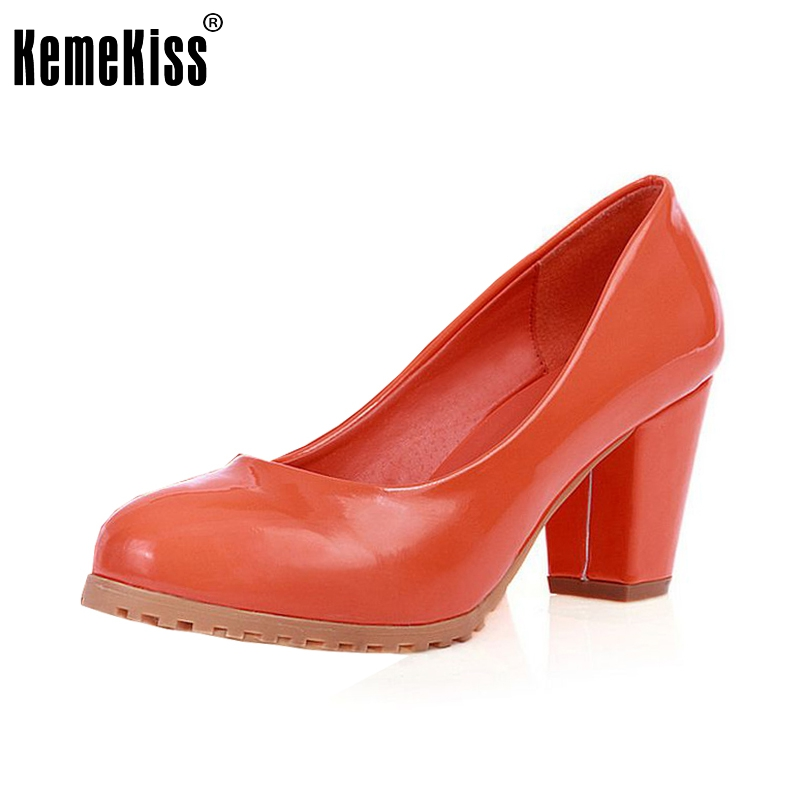 women square high heel shoes woman patent leather brand round toe heels pumps sexy lady footwear heeled shoes size 34-39 P23520