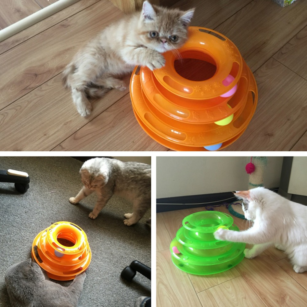 Cat toy Funny Pet Cat Crazy Ball Disk Interactive Toys Amusement Plate Trilaminar Toy