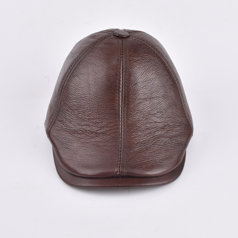 sheepskin caps New Design Mens 100% Genuine Leather Cap /Newsboy /Beret /Cabbie Hat/ Golf Hat father gift