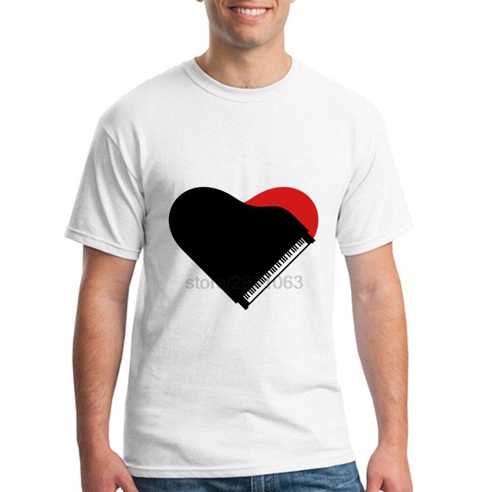 Shirt design online software - New Color Men S 100 Cotton T Shirt Software For Man Piano Heart Love Design Short