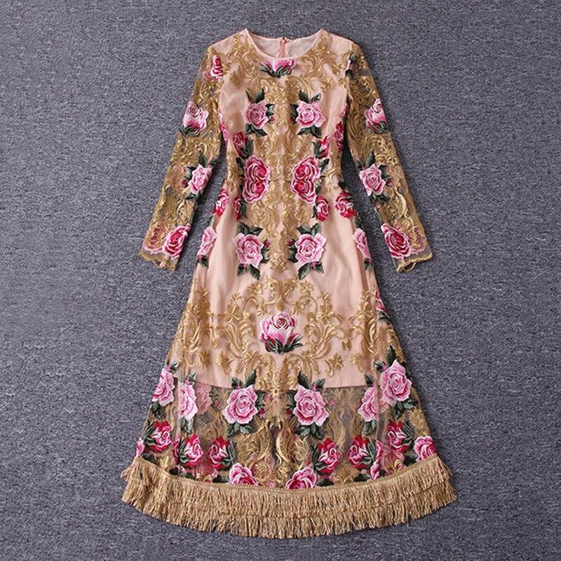 Robe de piste élégante broderie florale Vintage femmes voir à travers maille moulante robes d'occasion spéciale robe pure de festa