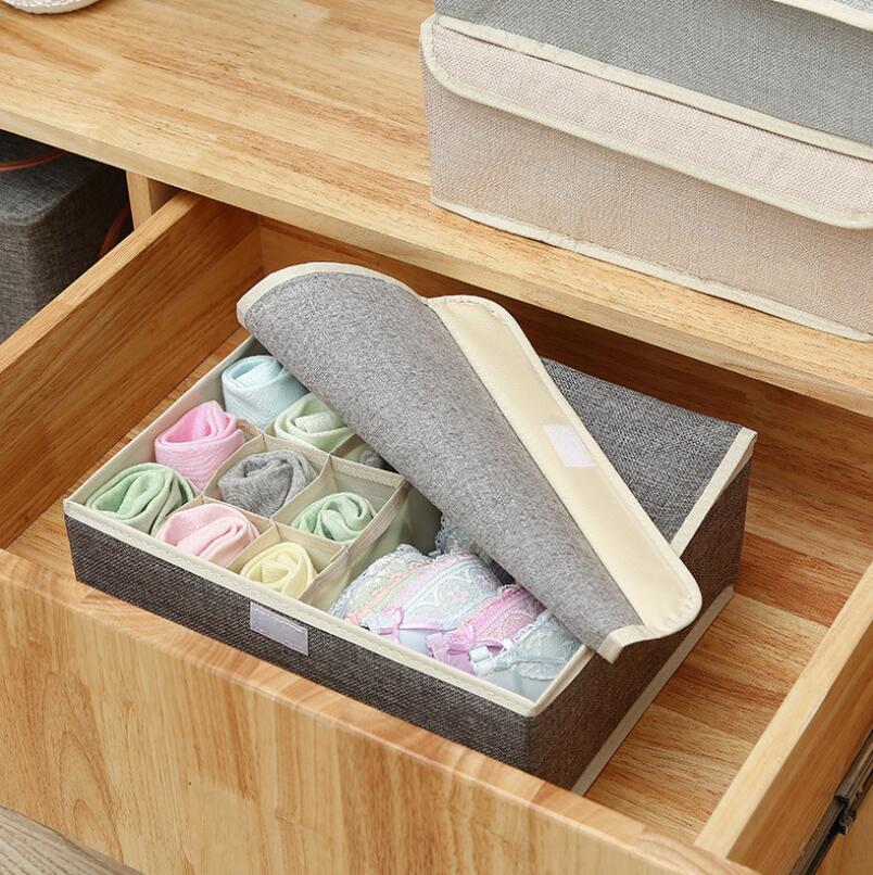 Image 3 - 13 Grid Drawer Divider Travel Organizer Houseware Supplies Underware Storage Box Closet Organizers Boxes Bra Case Cotton Linen-in Drawer Organizers from Home & Garden