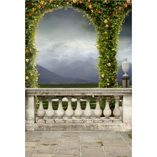Laeacco Spring Green Arch Flower Pillar Balcony Natural Baby Wonderland Scene Photo Background Photography Backdrop Studio