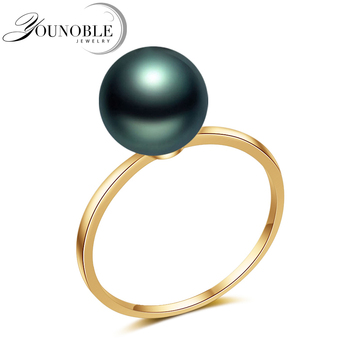 Real Wedding 18K Solid Yellow Gold Pearl Rings Pearl Akoya Round Natural,Girlfriend Birthday Gift Jewelry Engagement Women Ring