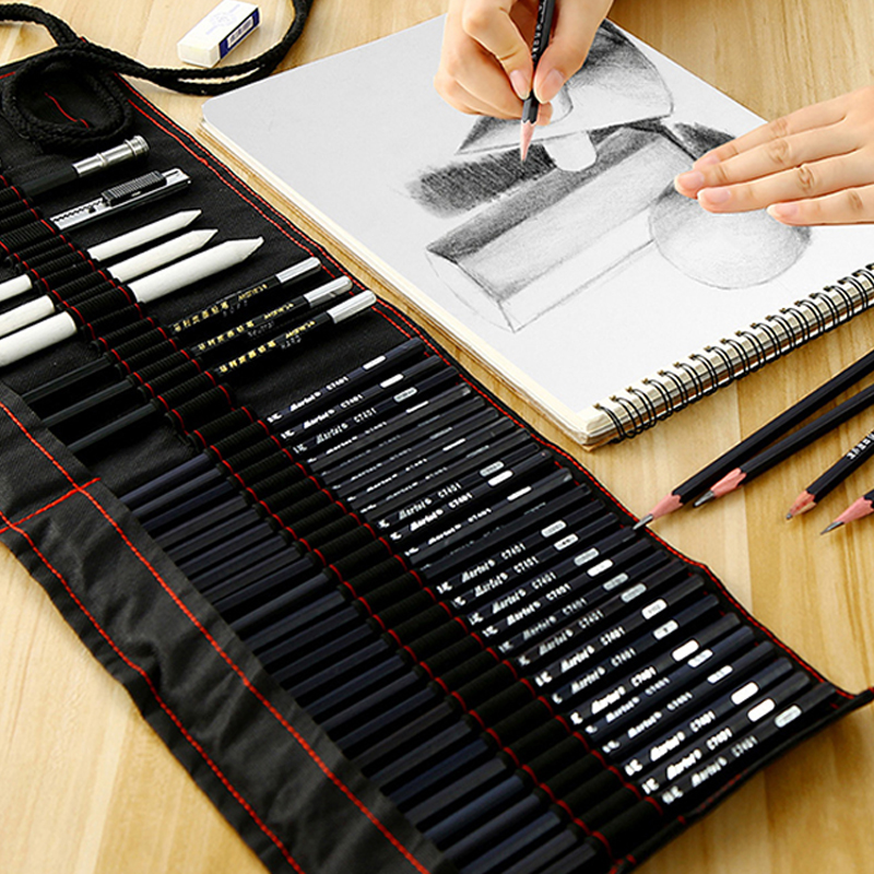 Marie's Sketch Pencil Set Beginner 2b4b Adult Painting Tools Pen Sketch Pen Children Pencil Drawing Bag Art Supplies