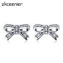 6b4df1aad072 Moda plata oro espumosos arco encanto Pandora pendientes con CZ claro  pendientes para mujer