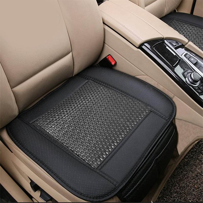BigAnt 2pc Breathable Rattan Design Car Seat Pad Covers for Office Chair with PU Leather Bamboo Charcoal Black or brown