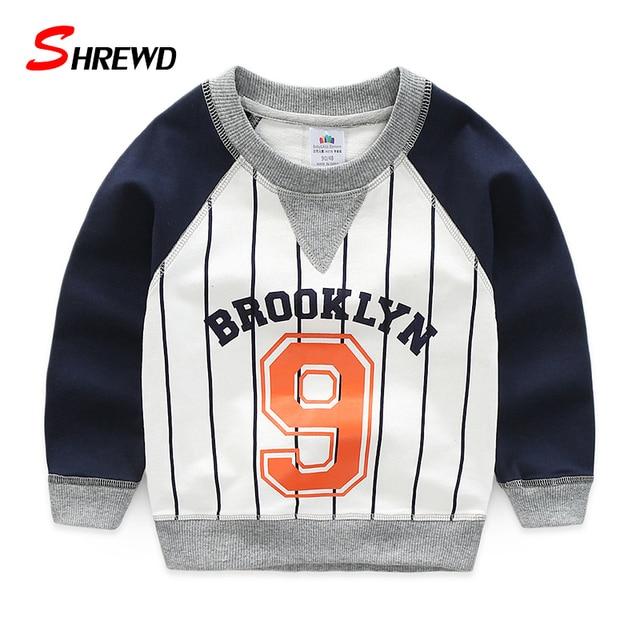 T-shirt Boys Brand Spring 2017 New Fashion Digital Striped Tshirt Kids Long Sleeve Simple O-neck Kids Clothes Boys 4862W