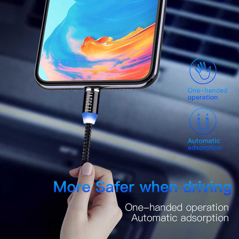 ¡! ACCEZZ magnética Cable de carga USB para iphone XS MAX 8 Micro USB tipo C para Huawei Samsung teléfono Android imán cable cargador 2M