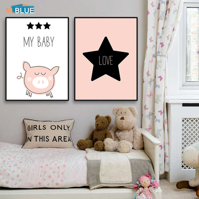 Poster Nordic Pink Cute Animal Cartoon Poster Prints Pig Star Baby Love Quote Wall Pictures For Kids Rooms Decorative Pictures