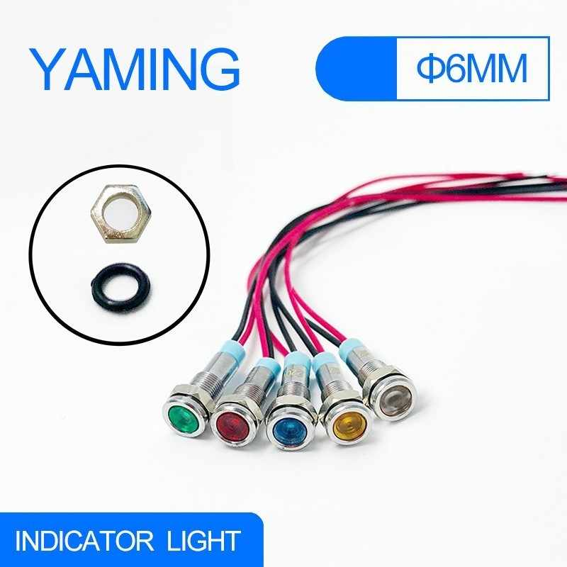 6mm LED Metal Indicator light with 150mm wire waterproof Signal lamp 6V 12V 24V 220V Pilot Seal Bulb red yellow blue green white