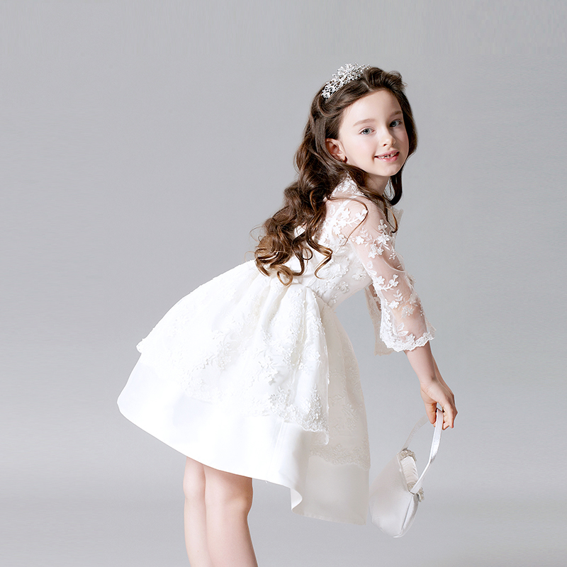 купить elegant white princess dress shoulderless lace sleeve girls pageant dress for wedding Christmas gift tutu flower girl dresses дешево