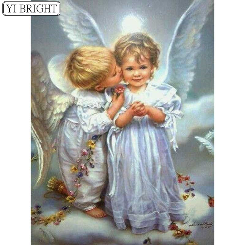 5D DIY Full Square Diamond Painting Cross Stitch Two little angels 3D Diamond Embroidery Rhinestone Mosaic Home Decor5D DIY Full Square Diamond Painting Cross Stitch Two little angels 3D Diamond Embroidery Rhinestone Mosaic Home Decor