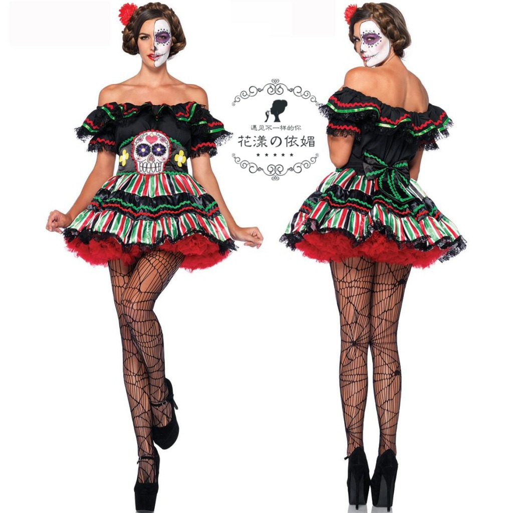 Halloween Adult Cosplay Dress Zombie Clothes Skull Ghost Women Cos Costume Pirate Girl Ds Party