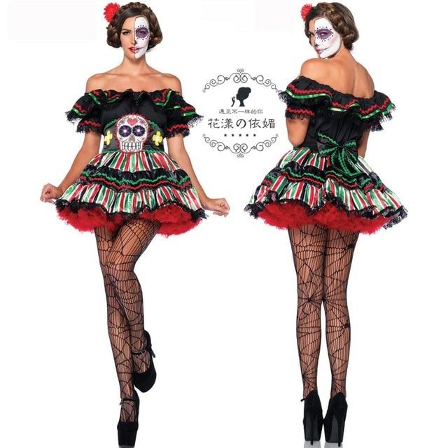 Halloween Vestito Cosplay Adulti Vestiti Zombie Skull Santo Donne Cos  Costume Pirate Girl Partito DS Vestiti 6b92bd7dc57f