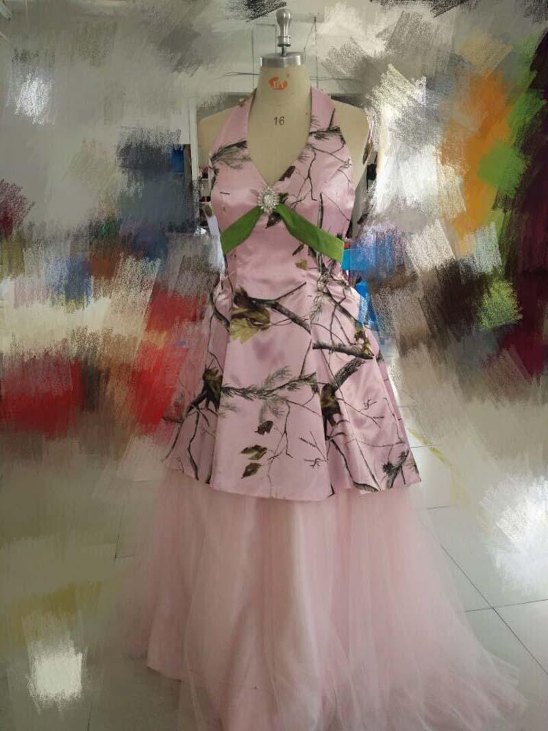 Rosa Camo brudtärna klänningar 2018 Två - Bröllopsfestklänningar - Foto 2