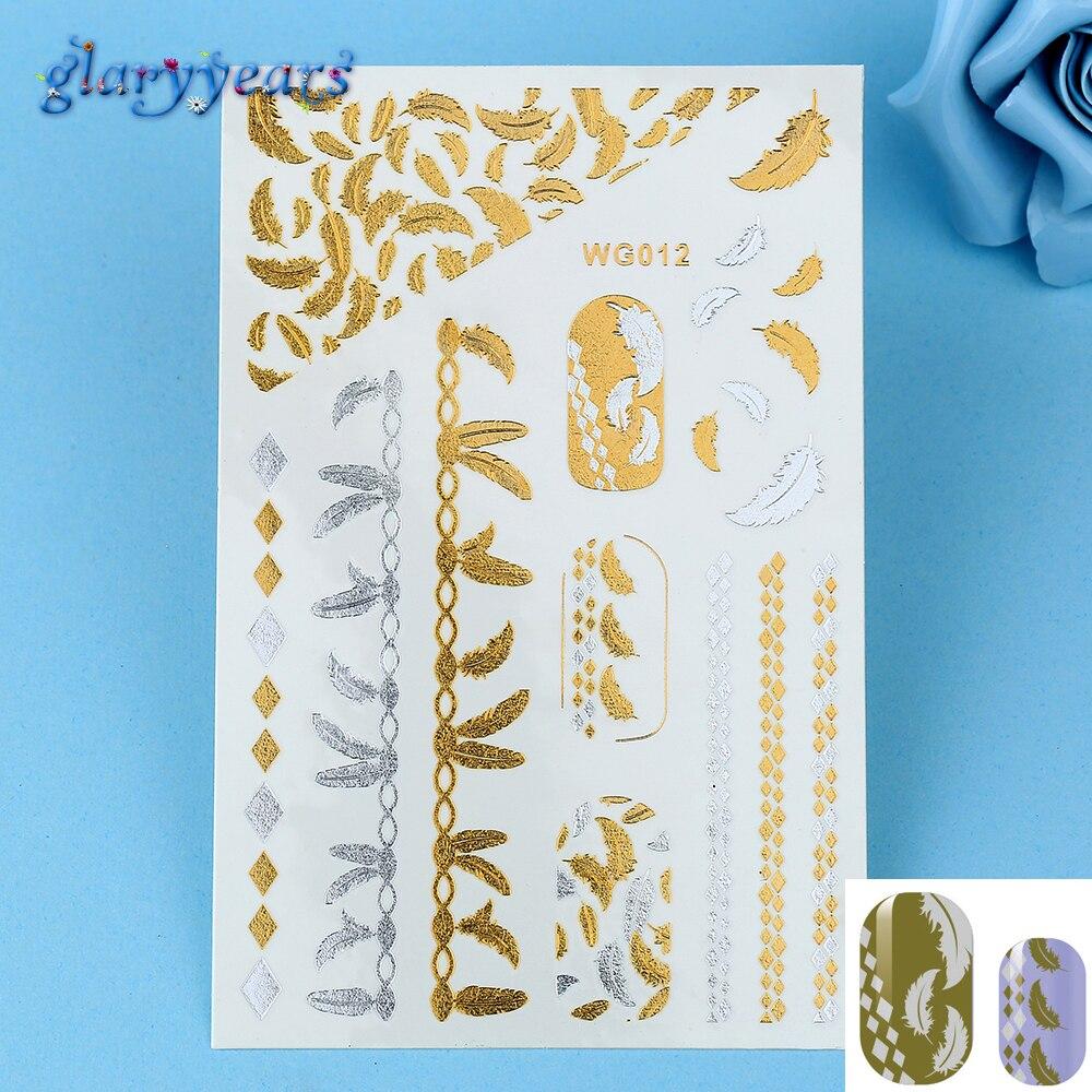 Φ_Φ1 unid hermosa Manicura oro plata Plumas patrón diseño agua ...