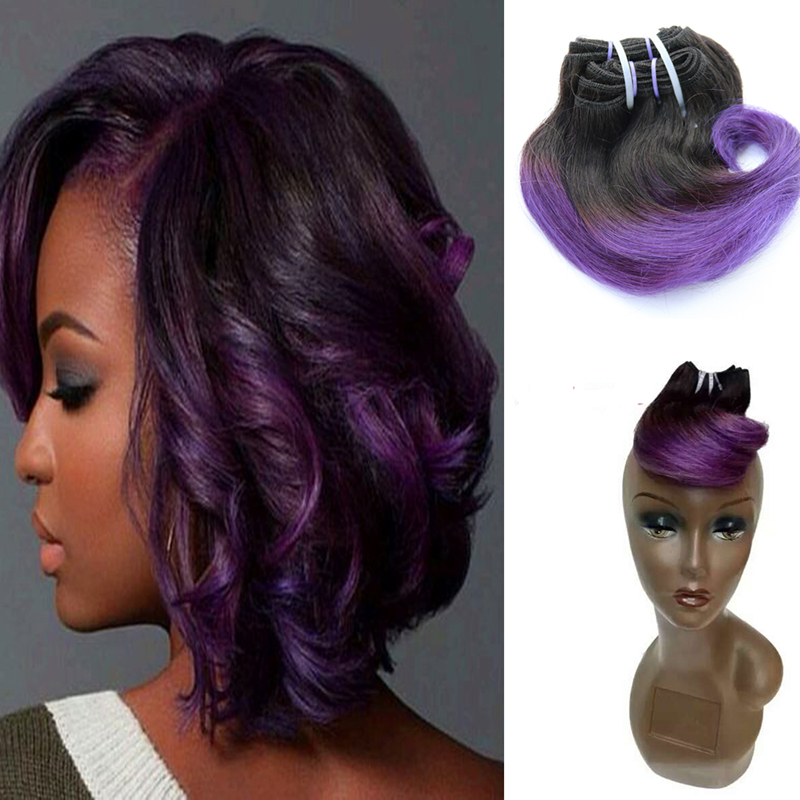 Full Shine Brazilian Short Weave Hair Extensions Remy Hair B Purple Violet Ombre Body Wave Short Hair Weft Ombre Cabello Humano On Aliexpress Com Alibaba