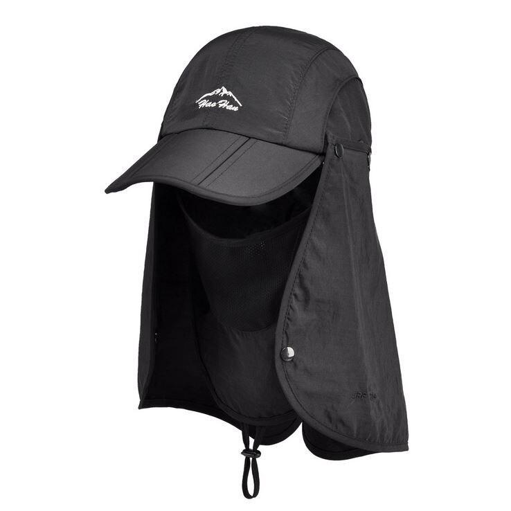 Prix pour En gros Au Détail 2015 Nouveaux Sports Sun Mesh avec Masque Chaîne Flap Cap Chapeau pour Hommes Femmes Chasse Pêche UV Protection pliable