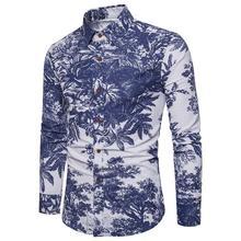 Hawaiian Floral Shirt Men's clothing Long sleeve plus size Casual Linen Shirts Men Flower Blouse Men Casual