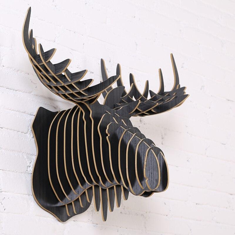 2016 New Wood Wall Deer Stag Head Moose Elk Reindeer Caribou Diy Wooden Craft Modern Design Art Hanging In Statues Sculptures From