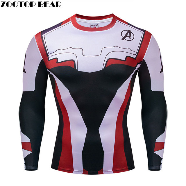 Marvel T áo sơ mi Crossfit Người Đàn Ông The Avengers Endgame Nén Tops Khô Nhanh Các Avenger Tập Thể Dục Mùa Xuân áo sơ mi Dài Tay Áo ZOOTOP GẤU