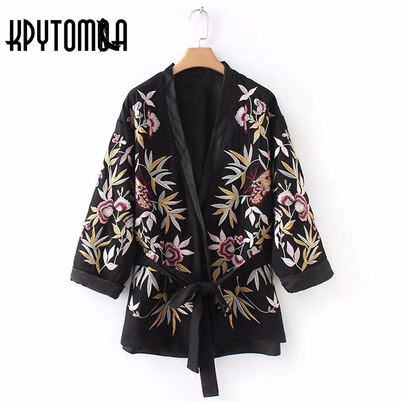 Vintage Floral Embroidery Belt Kimono Jacket Womens