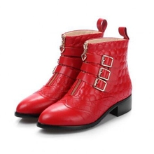 Belt Buckle Front Zippers Pointy Toe Red Black Apricot Embossed Cowhide Medium Thick Heels Martin Booties Shoes Discount Sale