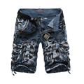 Top qualtiy free shipping loose multi-pocket men shorts military camouflage mens cargo shorts with out belt