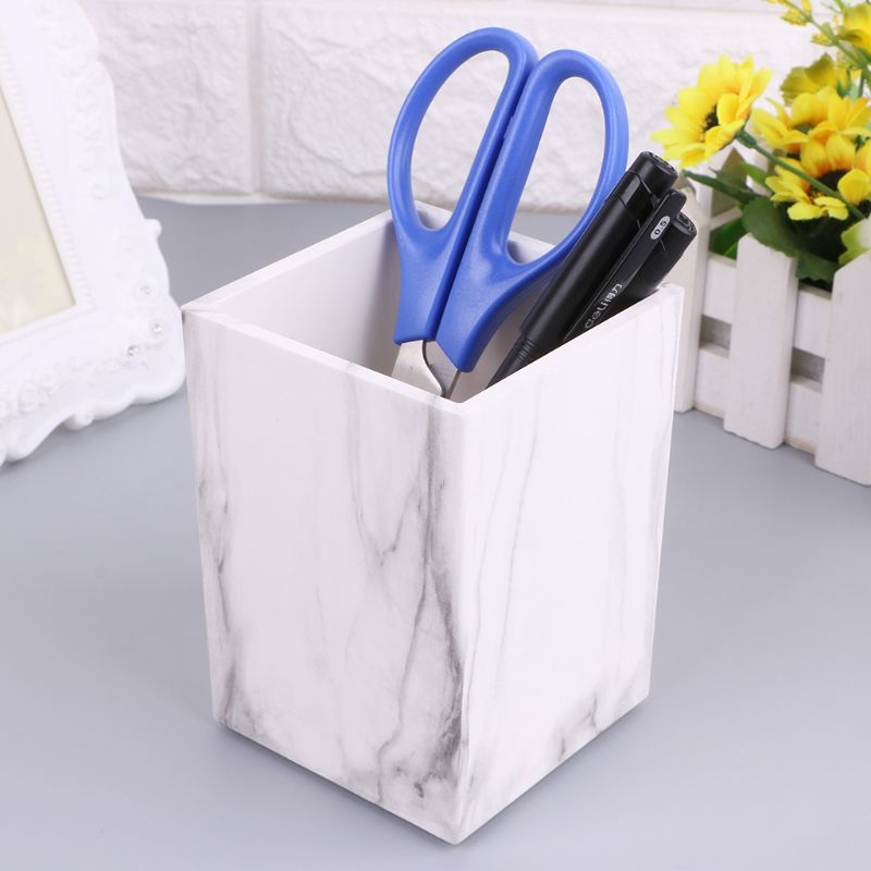 White Marble Print Desk Pen Pencil Holder Case Box cup Makeup Brush Office Organizer Stationery