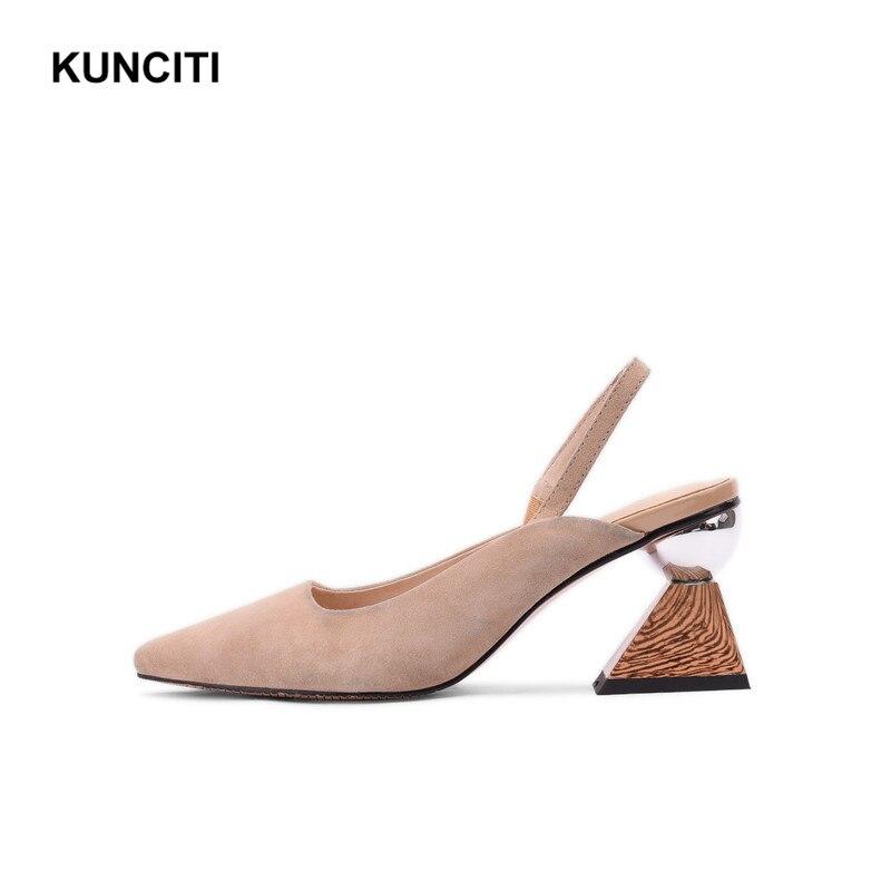 2019 สตรีรองเท้าส้นสูงฤดูร้อนรองเท้าหนังนิ่มสุภาพสตรีรองเท้าแตะ Slingback แปลก Heel Fetish Footwears คุณภาพสูง X922-ใน รองเท้าส้นสูง จาก รองเท้า บน   2