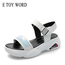 E TOY WORD Sandals women 2019 New Platform Summer Shoes Woman Bling Sequins Ladies Open-Toe Gladiator Womens sandals