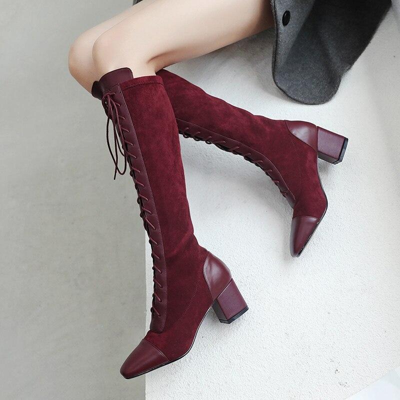 Naturel En Cuir Stretch Tissu chaussures pour femmes De Luxe Sexy Marque Dame à lacets Genou Bottes Élégant Femelle bottes à talons hauts grande taille 42