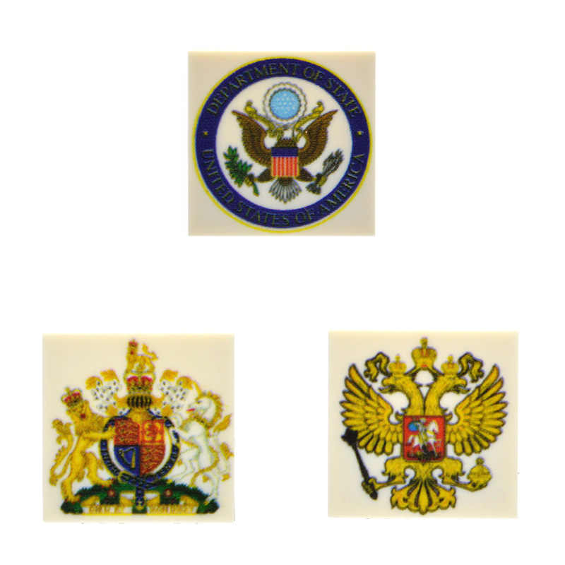 10pcs/lot 2*2 Bricks Tiles Printed National Emblem US UK Russia Printed MOC Building Blocks Toys for Children