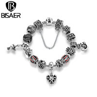 BISAER Antique Silver Plated Openwork Snowflake Heart Pendant Anchor Safety Chain Bracelets Bangles Jewelry Accessories PA1507