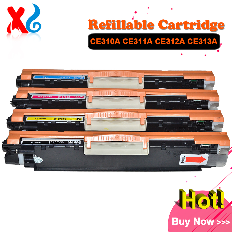 1Set CE310A Toner Cartridge for HP Color Laserjet CP1025nw CP 1025 Pro CP1025 100 Color MFP M175NW M175 M175A NW M275 126A Toner use for hp color laserjet pro mfp m177fw toner cartridge for hp cf350a cf351a cf352a cf353a 130a toner toner refill for hp m176