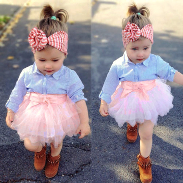 2392b35a9a4a 2Pcs Toddler Baby Girls Bow Striped Tops+Tutu Skirt Set Infant Outfits  Clothes 2018 Girl Kids Dress Lovely Denim