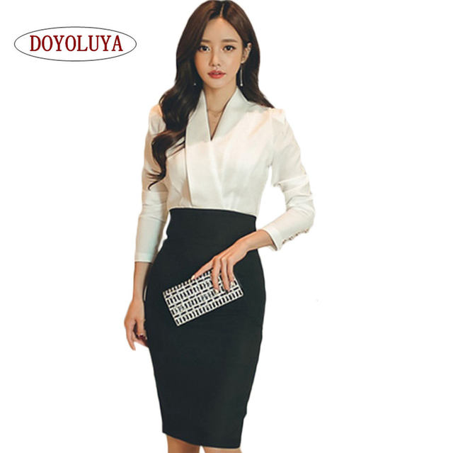 Doyoluya High Quality Las Autumn Office Wear Long Sleeve White Patchwork Black V Neck