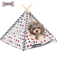 Doglemi Pet Teepee Tent Foldable Wood Linen Cave Bed Dog Cat Tipi House Indian Tents