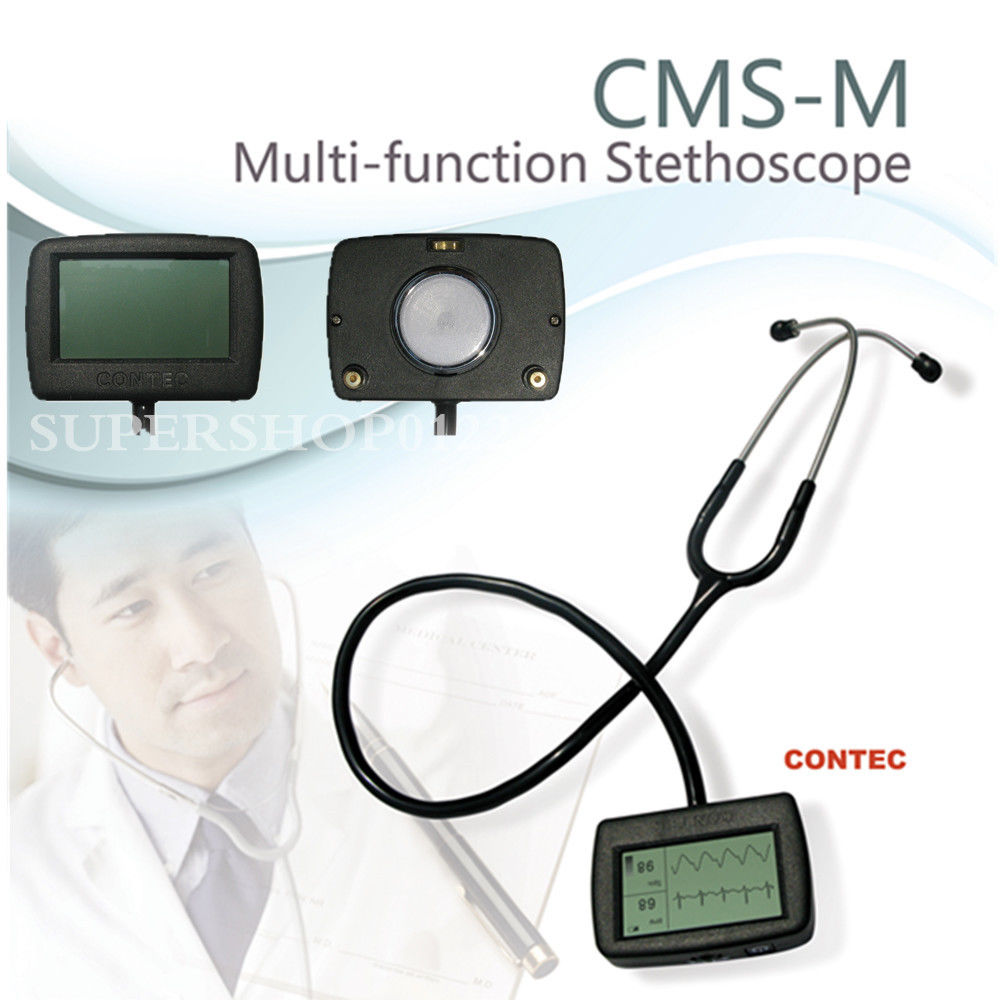 New CE Contec CMS-M Multi-functional Electronic Visual Stethoscope SpO2 ECG PR