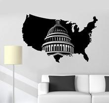 Calcomanía de vinilo para pared, mapa de Estados Unidos, pegatina de arte del Capitolio de Washington, Mural, decoración del hogar, habitación, habitación, 2DT4