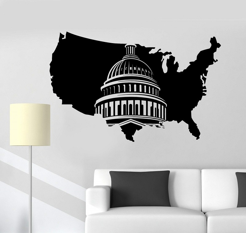 Vinyl Wall Decal USA Map United States Washington Capitol Art Sticker Mural Living Room Bedroom Home Decor 2DT4-in Wall Stickers from Home & Garden