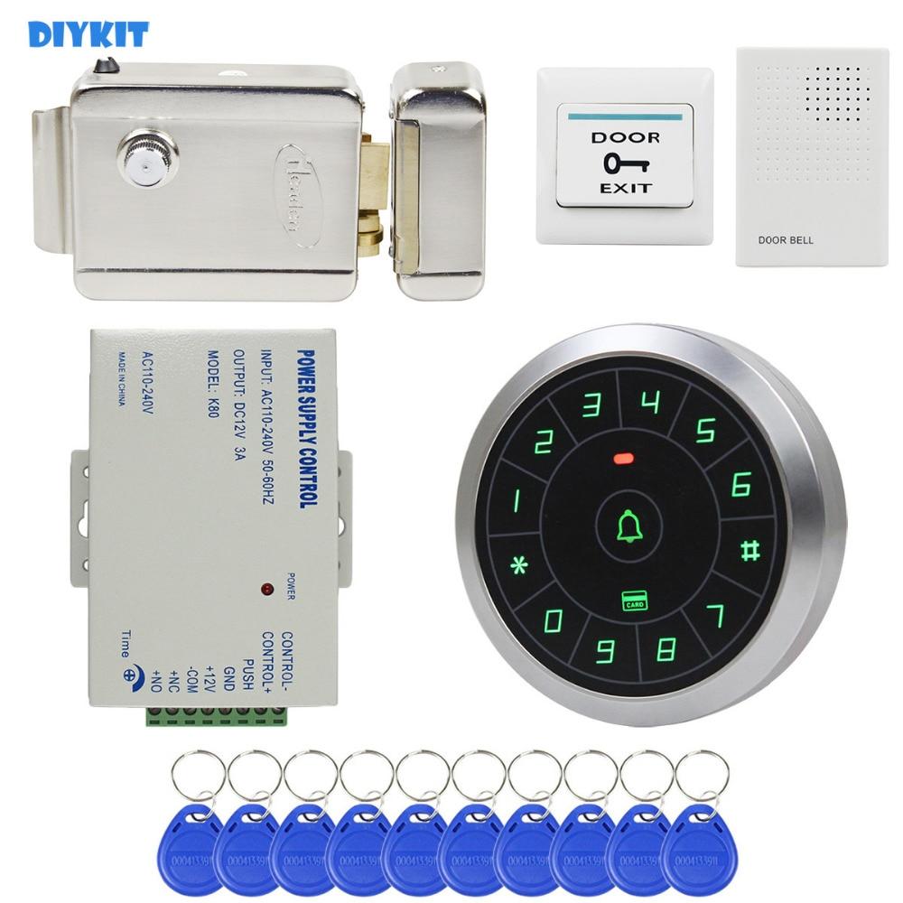 Diykit дверной звонок 125 кГц RFID считыватель Пароль Клавиатура + Электрический замок + Дистанционное управление двери Управление доступом безоп...