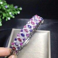 Натуральный Сапфировый Браслет, Цвет Сапфир, серебро 925, роскошный стиль, высококлассный цвет сокровище