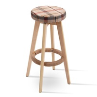 Round Wooden Comfortable Natural Linen Fabrics Counter Bar Stool Sturdy Solid Wood Frame 360 Degree Swivel Bar Chair HW52977