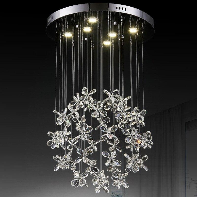 Merican Post moderne RH Loft Led G4 lustre salon cuivre Led lustre éclairage Foyer cristal abat-jour suspendre lampe