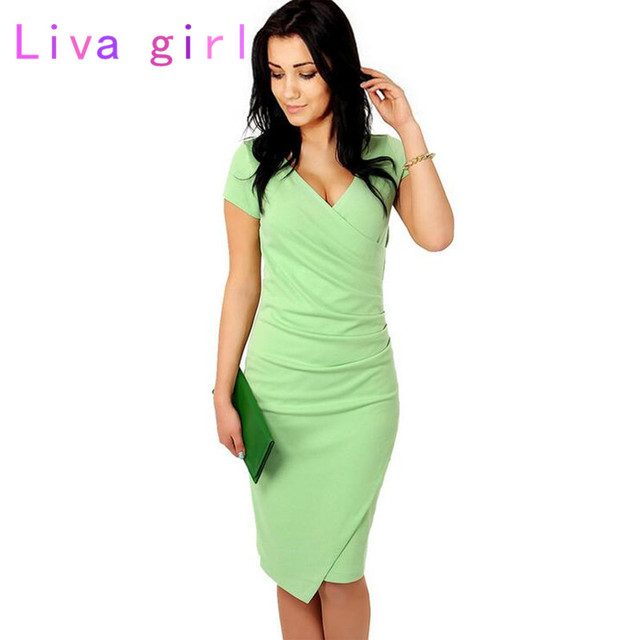 Sexy V neck Slim Office Work Dress Bodycon Vestidos Solid Color ...